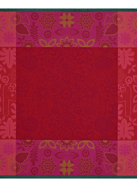 Le Jacquard Francais Rovaniemi cranberry kerst kleed 120 x 120 cm