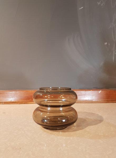 HK living Smoked brown glass vase S