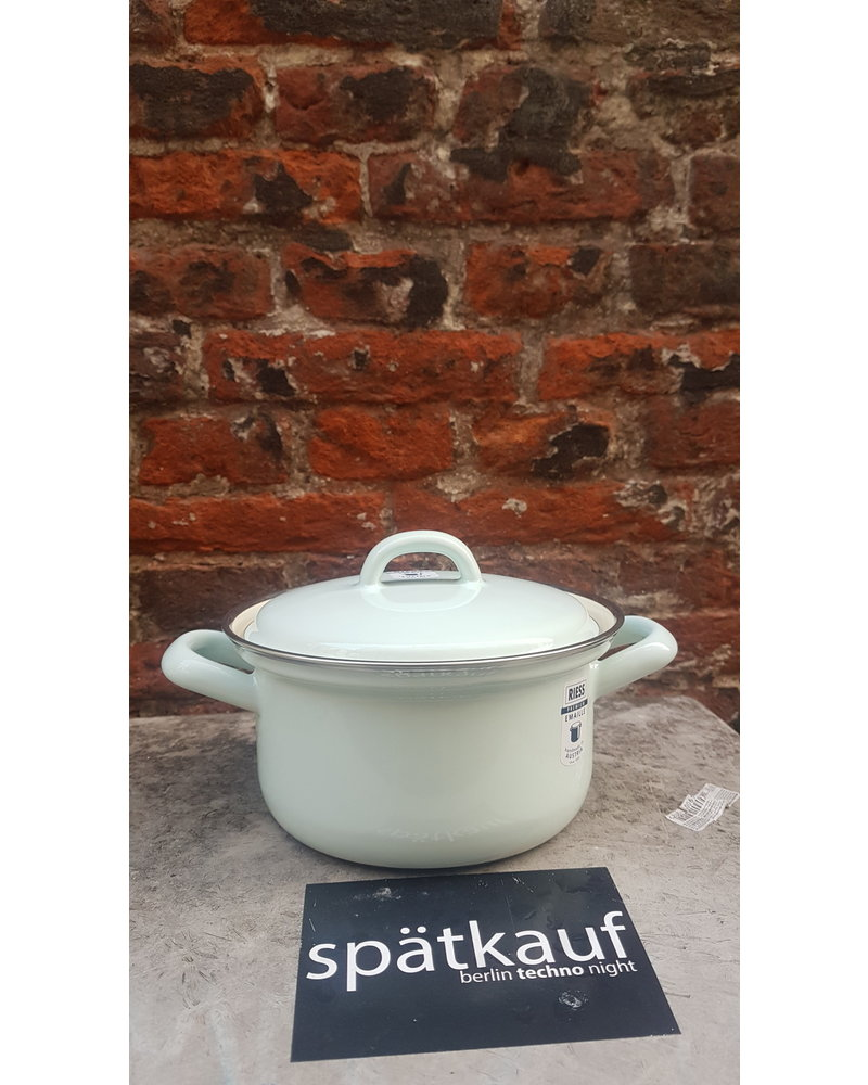 Riess Kookpan emaille 14 cm 0,75 liter turquoise