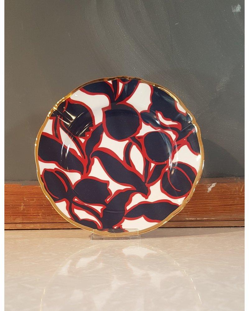 Bitossi Bitossi Funky Table bord bloem zwart rood 20,5 cm