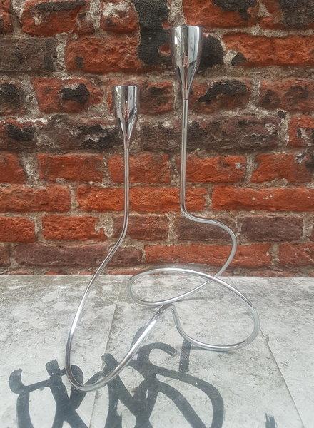 Black&Blum Loop kandelaar glanzend zilverkleurig