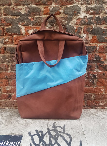 Susan Bijl Backpack Brown and Sky Blue