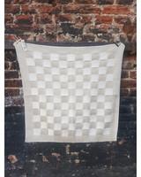 Knitfactory Keukendoek beige wit geblokt