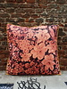HK living HK living Printed Floral Cushion Coral/Black