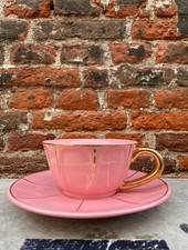 Bitossi Funky Table Tea Cup With Saucer 'Pink Vintage'