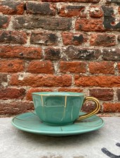 Bitossi Funky Table Tea Cup With Saucer 'Green Vintage'