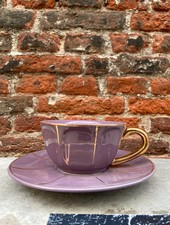 Bitossi Funky Table Tea Cup With Saucer 'Purple Vintage'