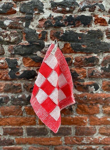 Knit Factory Pannenlap Block 'Ecru/Rood'