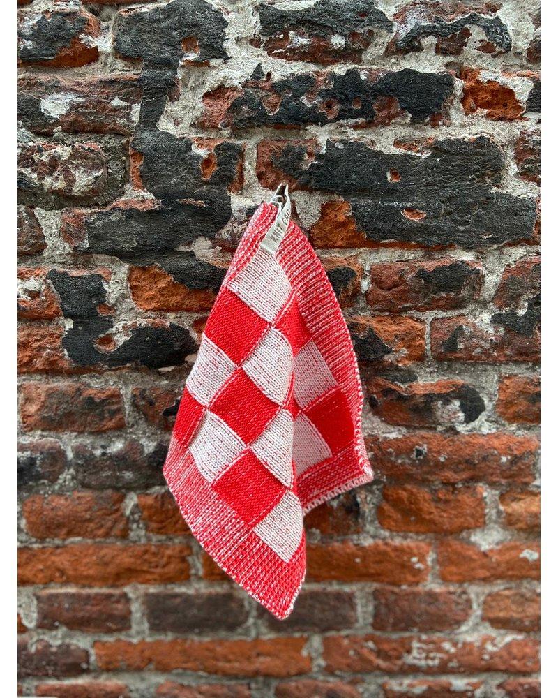 Knit Factory Knit Factory Pannenlap Block 'Ecru/Rood'