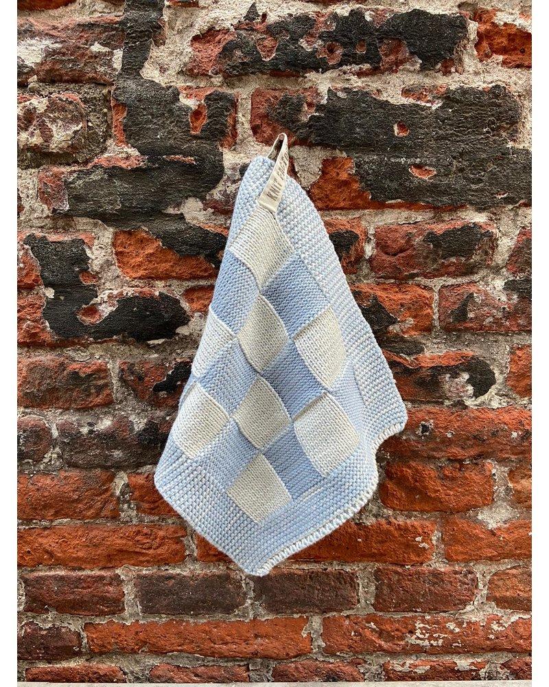 Knit Factory Knit Factory Pannenlap Block 'Ecru/Licht Grijs'