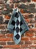 Knit Factory Knit Factory Pannenlap Block 'Zwart/Stone Green'