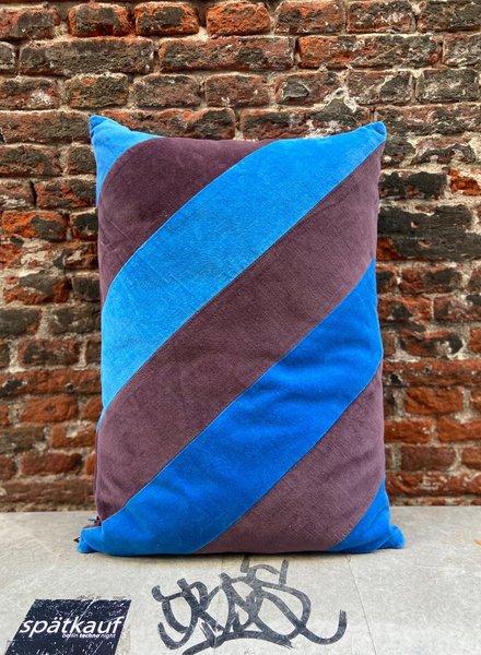 HK living Striped Cushion Velvet Blue/Purple
