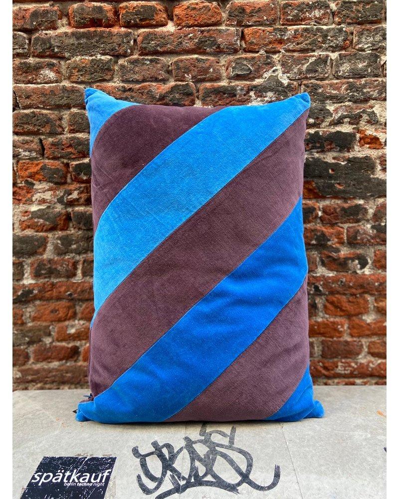 HK living HK living Striped Cushion Velvet Blue/Purple