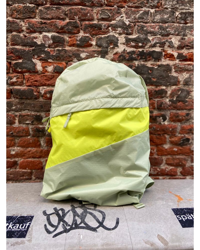 Susan Bijl Susan Bijl Foldable Backpack L 'Pistachio & Fluo Yellow'