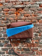 Susan Bijl Bum Bag M 'Brown & Sky Blue'
