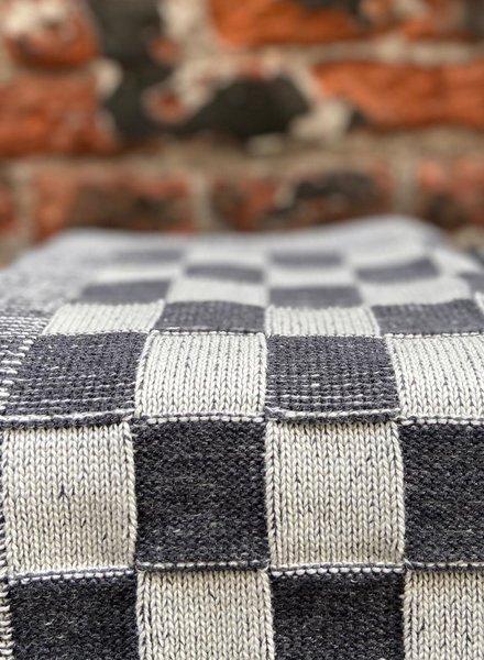 Knit Factory Keukendoek Block 'Ecru/Antraciet'