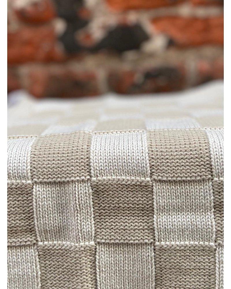 Knit Factory Knit Factory Keukendoek Block 'Ecru/Linnen'