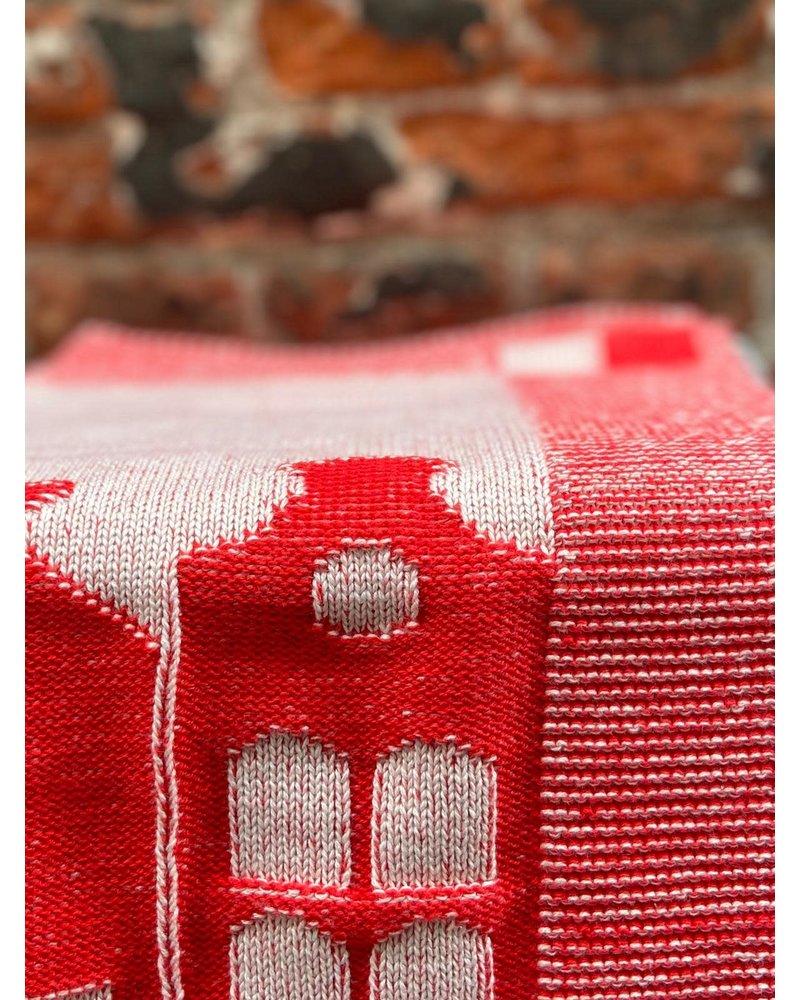 Knit Factory Knit Factory Keukendoek House 'Ecru/Rood'