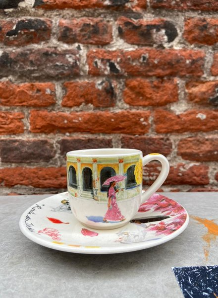 Gien Coffee Cup & Saucer 'Routes des Indes'