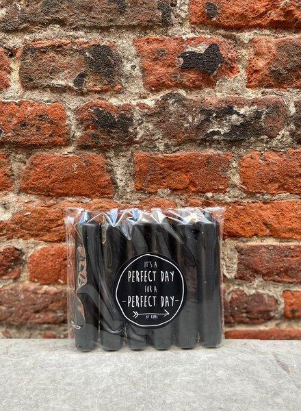 Rustik Lys Set van 6 Korte Kaarsjes 'Zwart'