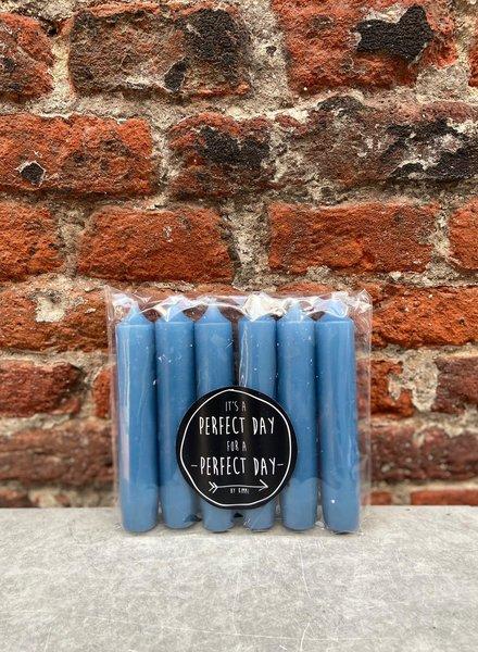 Rustik Lys Set van 6 Korte Kaarsjes 'Whale Blue'