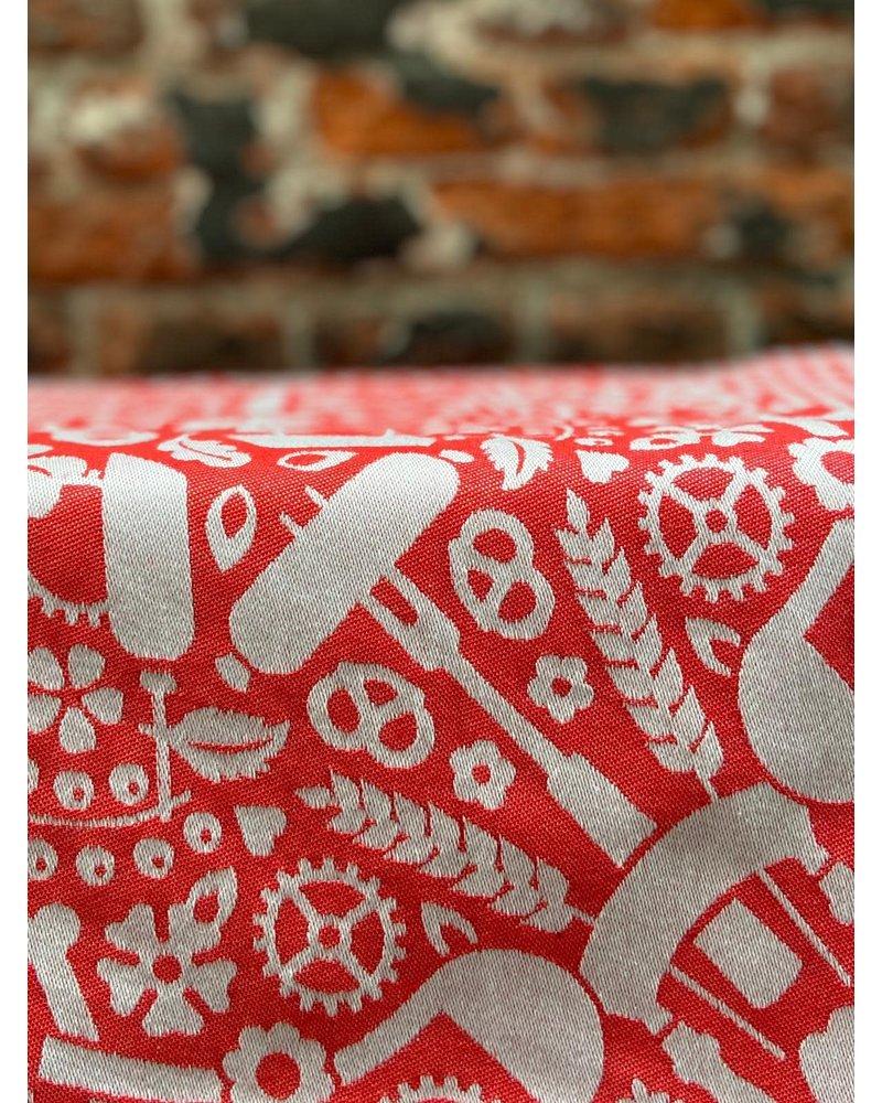 TextielMuseum Theedoek Studio Job 'Folklore Red'
