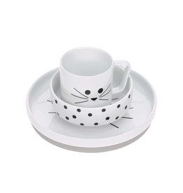 LÄSSIG  Kindergeschirr Set Porzellan - Dish Set Little Chums Cat