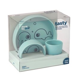 "DONE BY DEER Silicone dinner set ""Sea friends"" blue"