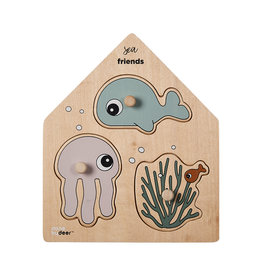 "DONE BY DEER Holz Steckpuzzle ""Sea Friends"" Multi"