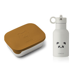 LIEWOOD Lunchbox & Trinkflasche 'Joni' Mr bear mustard/panda light grey mix