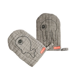 DONE BY DEER Waschlappen 2 Pack 'Sea friends' Grey