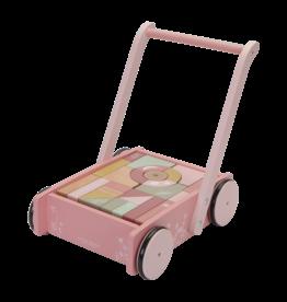 LITTLE DUTCH Holzwagen mit Bauklötzen 'Wild Flowers' Pink