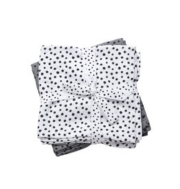 DONE BY DEER Mulltücher  2-pack 'Happy Dots Grey' Large