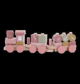LITTLE DUTCH Eisenbahn mit Steck-Formen 'Pink' aus Holz