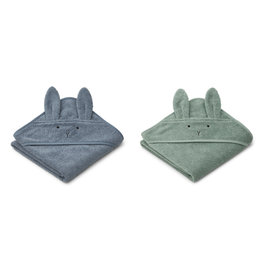 LIEWOOD Kapuzenhand-tücher 'Albert' Rabbit blue mix 2er-Pack