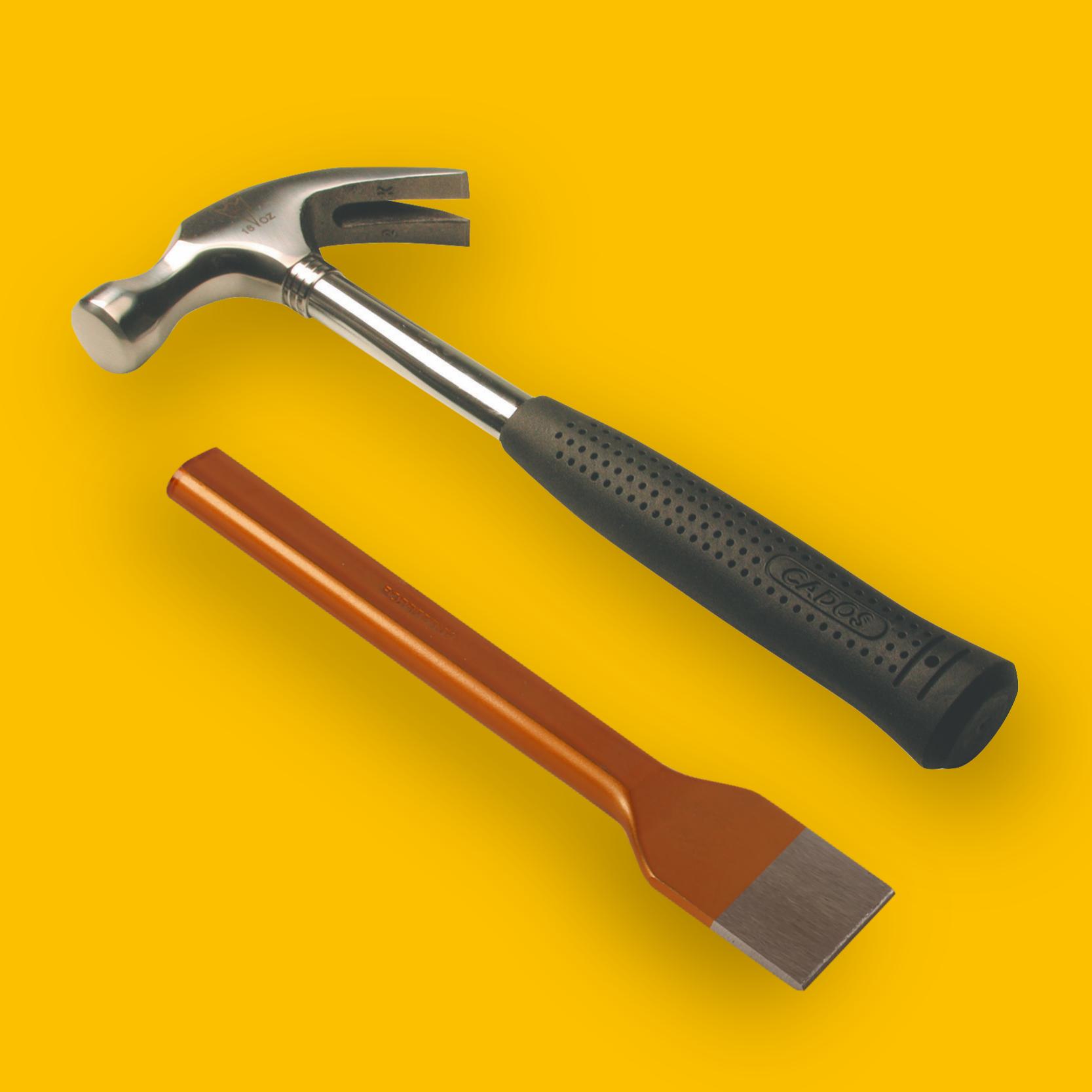 Grote en kleine hamers en beitels