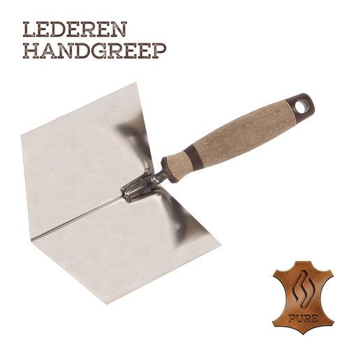 Super Prof  Super Prof Hoektroffel inwendig scherp, 120x100 mm RVS Lederen greep