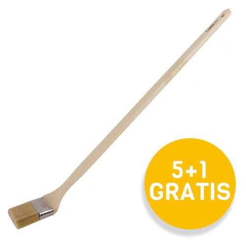 Super Prof  Radiatorkwast wit haar, lange houten greep 80cm