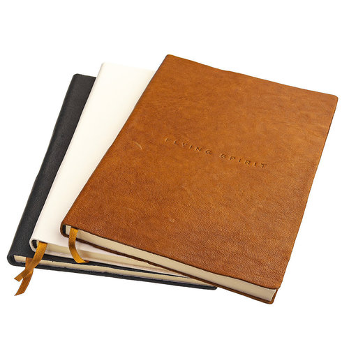 Clairefontaine Flying Spirit a5 leren notitieboek - Zwart
