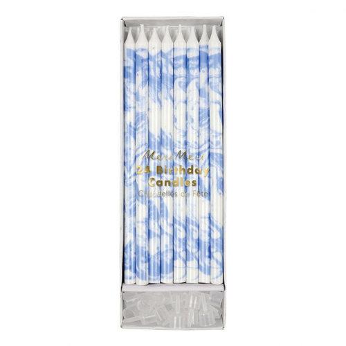 Meri Meri  Marble kaarsjes blauw / wit