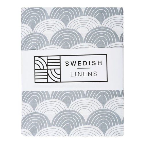Swedish Linens Ledikant hoeslaken | Soft Grey