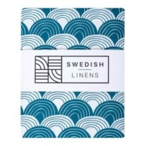 Swedish Linens Ledikant hoeslaken | Moroccan Blue