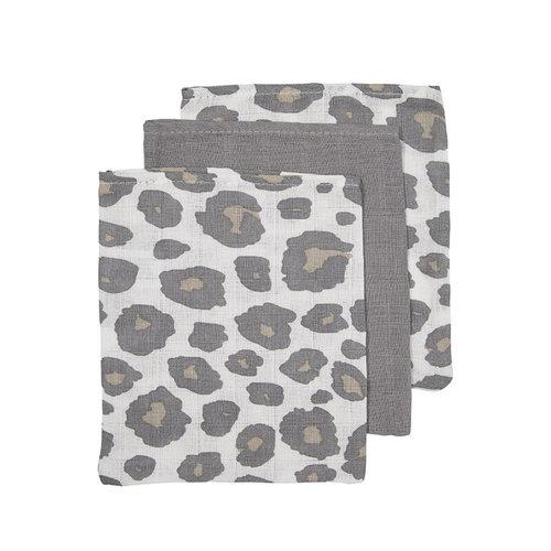 Meyco 3 pack washandjes panter - uni grijs