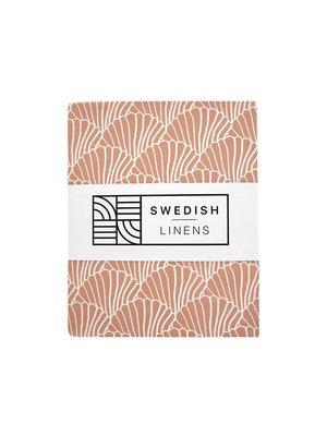 Swedish Linens Ledikant hoeslaken | Seashells Terracotta Pink