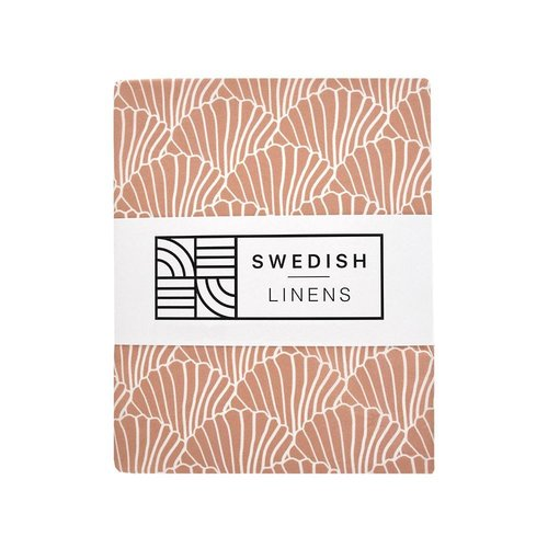 Swedish Linens Ledikant hoeslaken | Seashelves Terracotta Pink