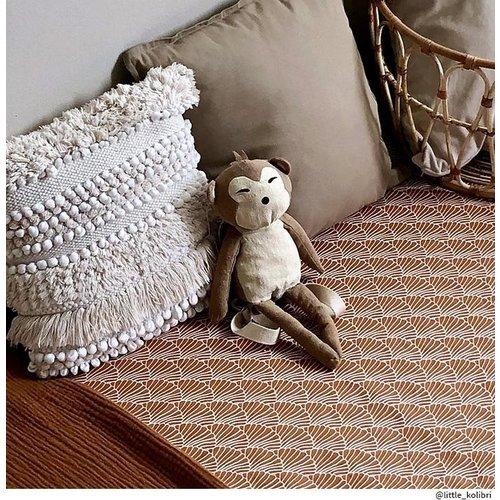Swedish Linens Ledikant hoeslaken | Seashelves Cinnamon