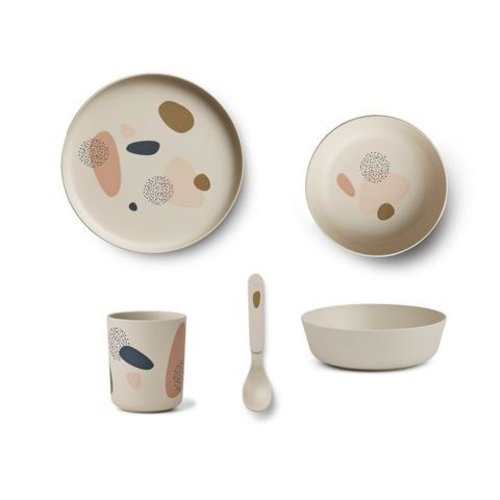 Liewood Bamboo box kinderservies set bubbly sandy