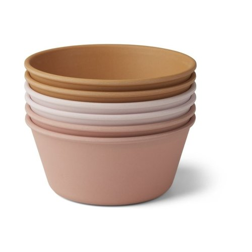 Liewood Greta bamboo bowl 6 pack | rose multi mix