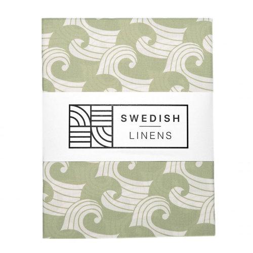 Swedish Linens Ledikant hoeslaken | waves sage