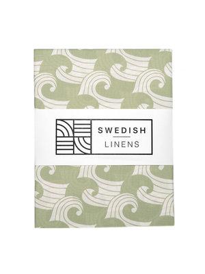 Swedish Linens Juniorbed hoeslaken | waves sage